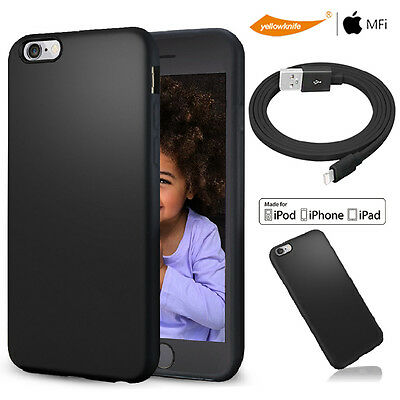 MFI Certified USB Data ChargeR Cable F iphone 6 6s plus Matte Non Slip Soft Case