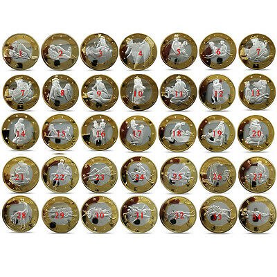 34pcs Set Sex 6 Euro Different Design Sexy Silver & Gold Coins Collector Crafts