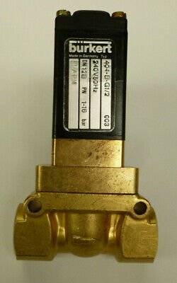 "Burkert Solenoid Valve 1/2""  2/2 NO Brass body 240v Servo assisted piston valve"
