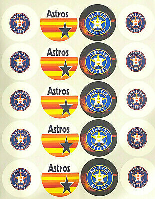 "SET of 20- 2"" HOUSTON ASTROS ADHESIVE STICKERS.Make Cupcake Toppers!"