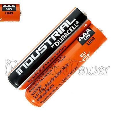 2 x Duracell AAA batteries Industrial Procell Alkaline LR03 MN2400 1.5V EXP 2022