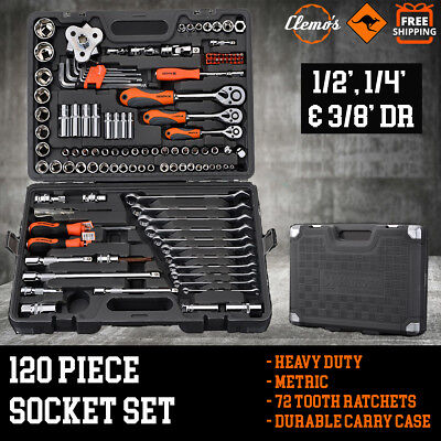 """120pcs Socket Set 1/2"""" 1/4"""" 3/8"""" Drive Metric Combination Spanners Wrenches Bits"""