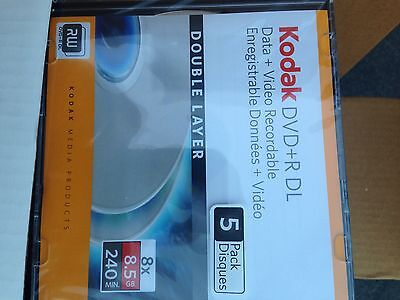 60 Kodak Dvd + R Double Layer DL Data + Video Recordable 8X8.5Gb 240 Min In Case