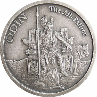 Norse Gods Series Odin - Valkyrie 1 oz .999 Silver Antiqued Finish Round US Coin