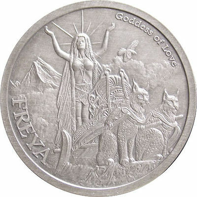 Norse Gods Series Freya - Valkyrie 5 oz .999 Silver Antiqued Finish Round Coin