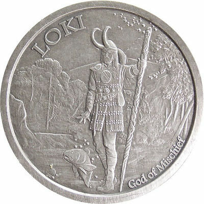 Norse Gods Series Loki - Valkyrie 5 oz .999 Silver Antiqued Finish Round US Coin