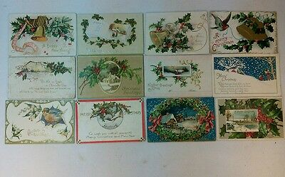 Vtg Lot 12 Early1900's Antique Christmas New Year's Germany Post Cards LOT