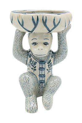 """Chinese Cute Blue and White Porcelain Monkey in Suit Soap Tray 8"""""""