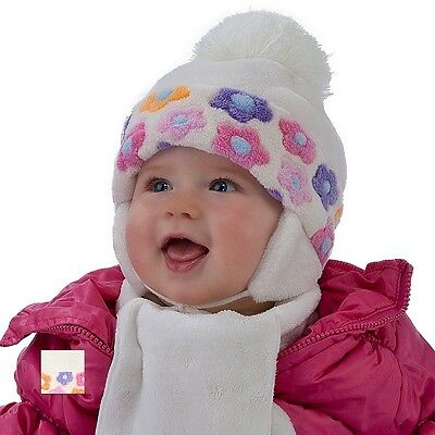 Baby Girl Hat & Scarf Infant Girls Set Winter Size 6 - 24 mths 2-3 years