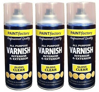 3 x Clear Gloss Varnish Spray Paint Wood Metal Plastic Office Household 400ml