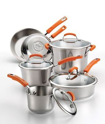 Rachael Ray Non-stick Stainless Steel Cookware Set, 10 Piece