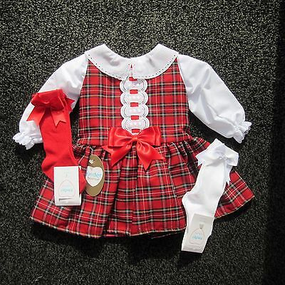 Girls Red / Green Tartan Spanish Style dress by Kinder Boutique 3M upto 4 year