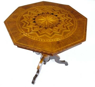 19Th Century Antique Italian Walnut Parquetry Center Table