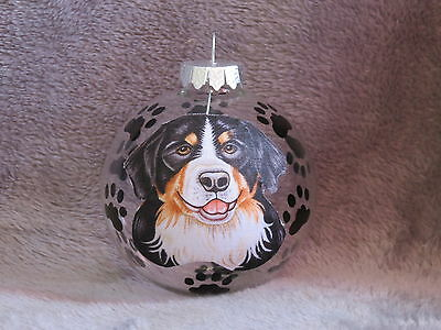 Hand Made Bernese Mountain Dog Glass Christmas Ornament / Ball