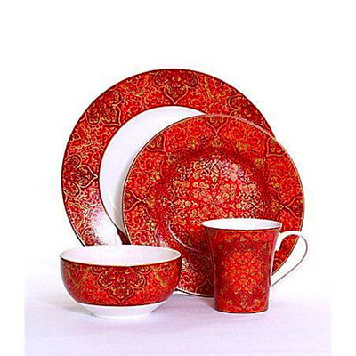 Dinnerware Set Red Porcelain 16-piece Floral Christmas Dining Plates Bowls New
