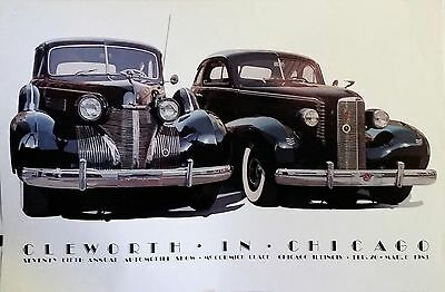 Harold Cleworth '39 Cadillac & '37 LaSalle | Orig. '83 Chicago Auto Show Poster