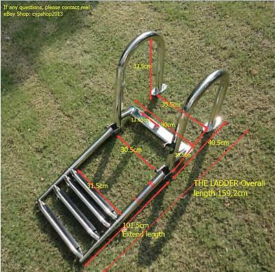 Stainless Steel Boat Ladder Inboard Boat 4 Step Ladder Dock Ladder Marine Ladder