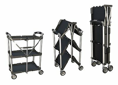 Utility Cart Service 3 Shelves Levels Storage Portable Foldable Collapsible Tool