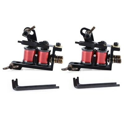 2pcs Iron Handmade Tattoo Machine Guns Coils Liner Shader Supply with Wrenches
