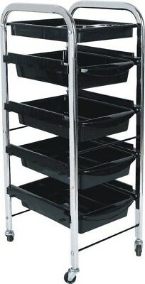 Beauty Spa Hairdresser Hair Salon Coloring Trolley Rolling Storage Cart 5 Tier