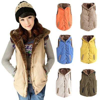 Womens Fleece Warm Vest Hoodies Coat Sleeveless Jacket Hooded Waistcoat Outwear