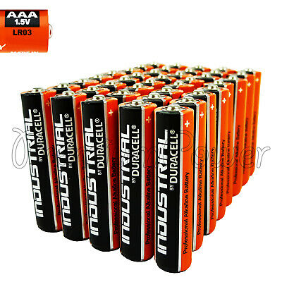 40 x Duracell AAA batteries 1.5V Industrial Procell Alkaline LR03 MN2400 EXP2022