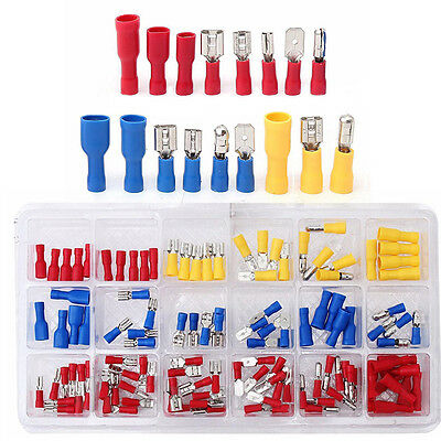 120pcs Insulated Crimp Butt Spade Ring Fork Terminal Wire Connector Kit 22-10AWG