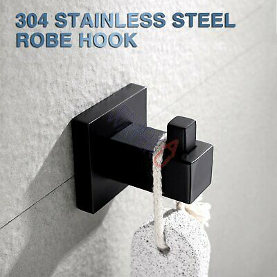 Black SS304 Bathroom Cloakroom Hat Towel Robe Clothes Hook Door Hanger holder