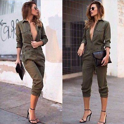 Women Clubwear V Neck Playsuit Bodycon Party Jumpsuit Romper Trousers Ladies