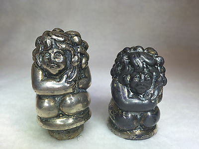 Pair of Silver Plated Bottle Toppers Figure Carrying Bag of Fruit