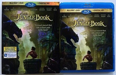 Disney The Jungle Book 2016 Blu Ray Dvd 2 Disc Set + Slipcover Sleeve Free Ship