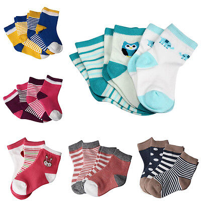 4 Pairs Newborn Baby Boy Girl Cartoon Cotton Socks Infant Toddler Kids Soft Sock