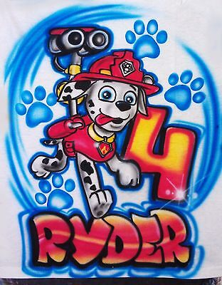 631091683 Airbrushed Custom T-shirt Personalized Paw Patrol Marshall Sizes 2T - 3XL