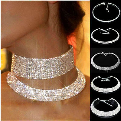 Diamante Crystal Rhinestone Necklace Choker Silver Wedding Party Chain Jewellery