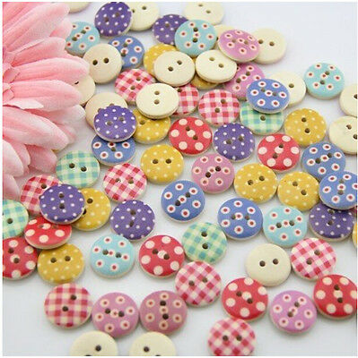 100  Wooden Buttons in Bulk for Crafts Button Round Colorful Painted