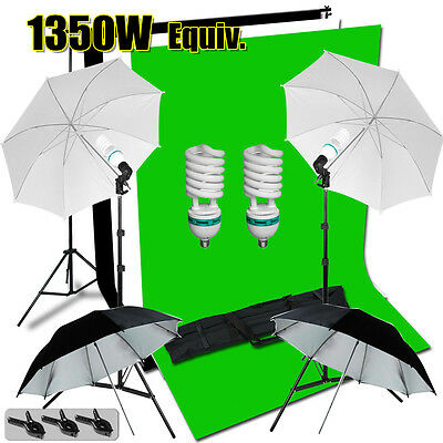 Photography Photo Video Studio Umbrella Lighting Light Screen Backdrop Stand Kit