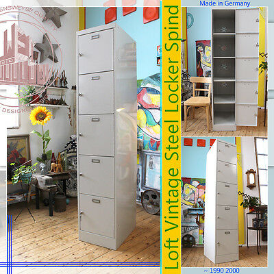 Vintage Post Mid Century Modern Spind Schrank Steel Armoire Locker 5 Fächer & Sc