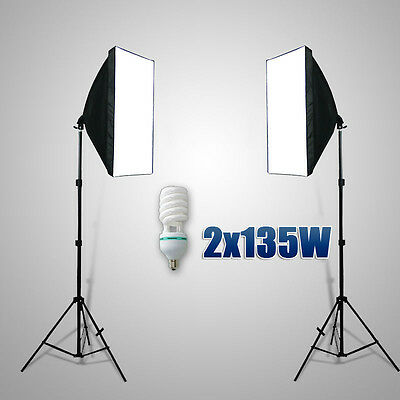 2X135W Photo Studio Softbox Continuous Lighting Soft Box Bulb Light Stand Kit AU