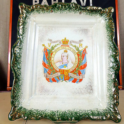 Antique Queen Victoria Commemorative Wall Plaque Plate Diamond Jubilee 1897