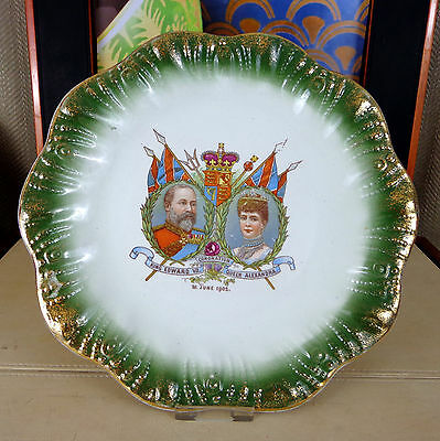 Antique King Edward VII Queen Alexandra Plate Commemorative 1902 Coronation