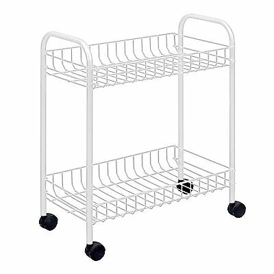 Metaltex Madrid 2 Tier Rolling Shelf Kitchen Unit Multi Purpose 2 Shelves White