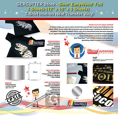 """SISER EASYWEED FOIL,3 SHEETS (12""""x15"""")T-SHIRT IRON-ON HEAT TRANSFER VINYL-SILVER"""