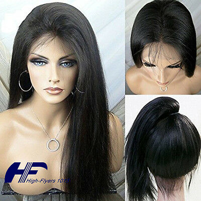 Brazilian Full&Front Lace Human Hair Wigs Natural Straight Black Women Baby Hair
