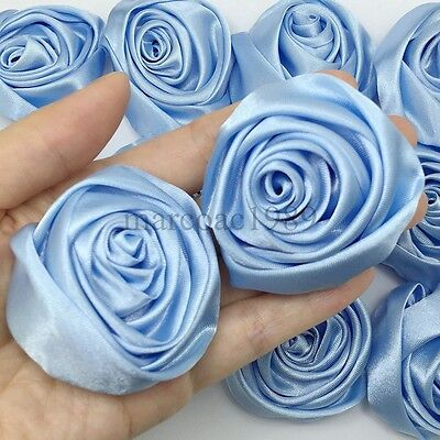 SATIN RIBBON ROSE BUD FLOWERS WEDDING CARD MAKE 10//20//30//50//100 7 COLOUR 12x25mm