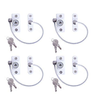 4 x White Window Door Restrictor Safety Locking UPVC Child Security Wire Cable