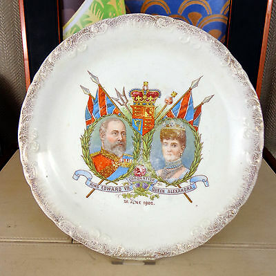 Antique King Edward VII Queen Alexandra Plate Commemorative 1902 Coronation A