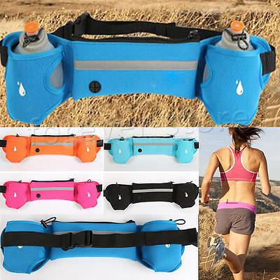 Sport Running Water Bottle Waist Fitness Belt Bum Bag Jogging Marathon Pouch NEW