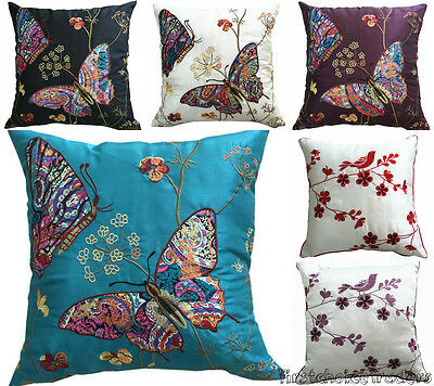 4 x Cushion Covers Vintage Embroidered Pillowcase Butterfly Design Home Decor