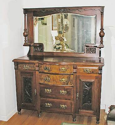 Victorian Eastlake Walnut Buffet With Burled Wood, Hand Carving, Beveled Mirror