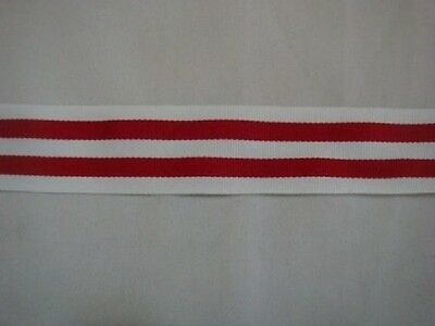 60 Y Wholesale Roll White & Red Stripped Polyester Knit  Ribbon 1 1/4""
